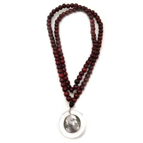 ORIGINAL OSHO Rajneeshpuram Wild Country Mala for Meditation -Natural Wood