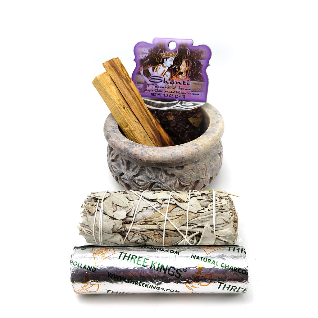 Scrying Soapstone Incense Smudging  Burner W/ White Sage Coal Palo Santo Resin