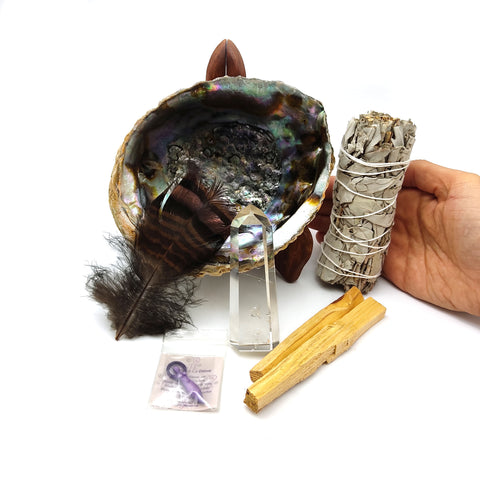 Smudging Abalone Shell Cleansing Kit  Sage Palo Santo Healing Crystal Wand Feather