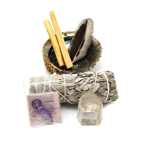 Smudging Cleansing Kit Abalone Shell Sage Palo Santo Healing Crystal Wand Feather
