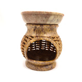 "Gorgeous Oil Diffuser Oil Burner Candle Holder India Hand-carved Soapstone  4.5"" Tall"