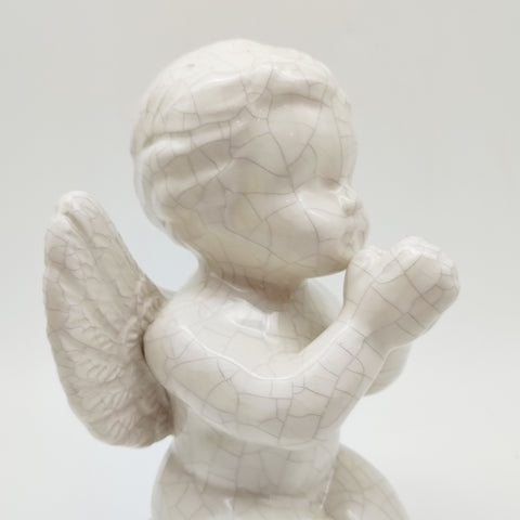 Porcelain Angel Baby Praying Figurine Statue Decorative Ceramics Crackle Finish 6.5""