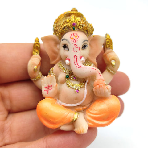 Precious Pair of Polyresin Ganesh Ganapati India Elephant God Figurine Statues 2""