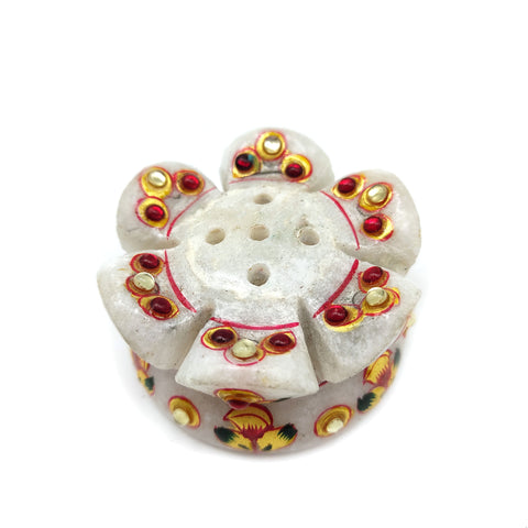 Marble Set Decorative Ethnic Stick Incense Burner With Pure White Marble Lingam