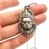 Silver Lion God Narasimha Pendant Amulet W/ Silver T-Bar Toggle Chain Necklace 17.5""