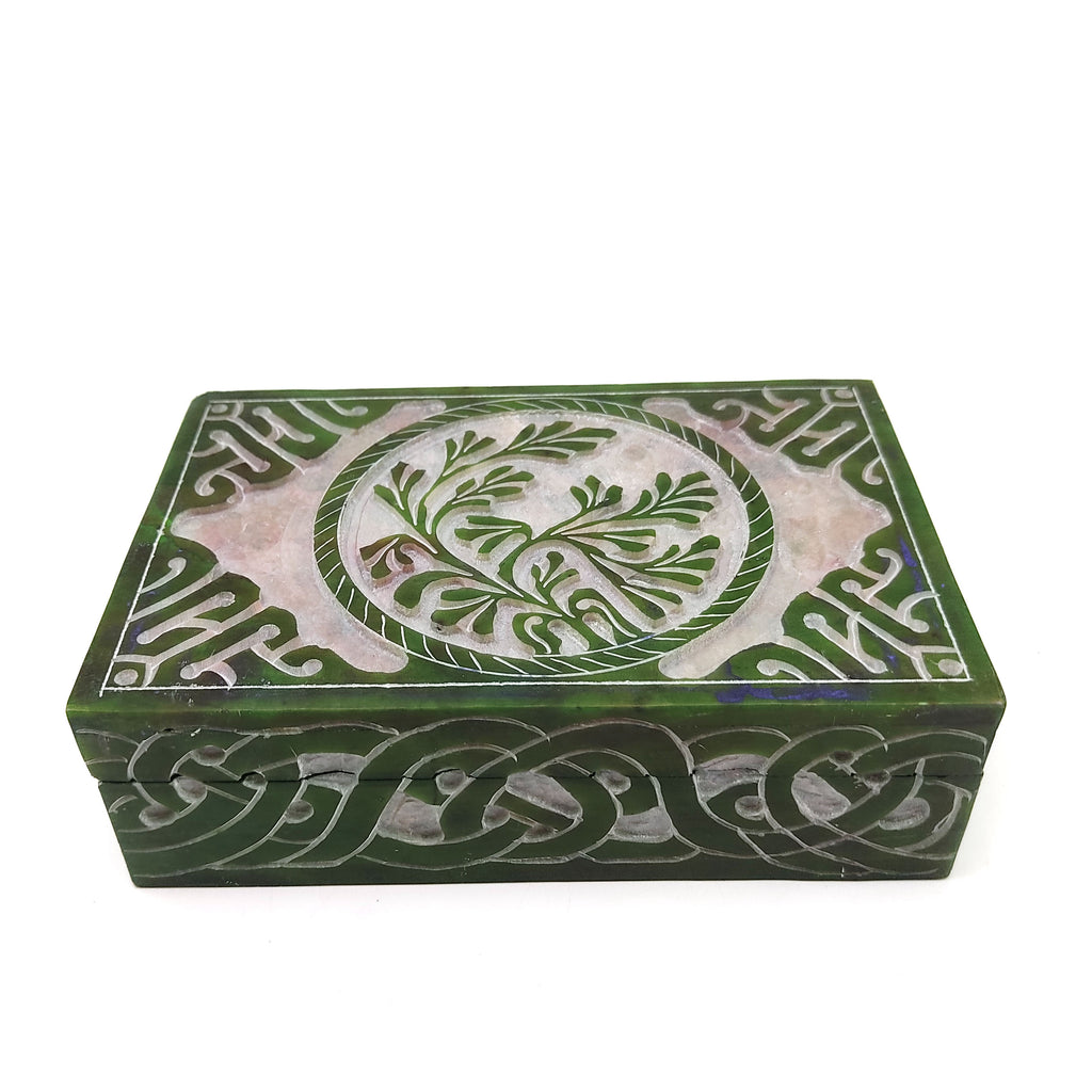 "Green Tree of Life Handcrafted India Soapstone Decorative Box Trinket keepsake 6"" Long"