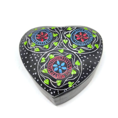 Soapstone Decorative Heart Shaped Box Hand-painted Jewelry Box Trinket Keepsake