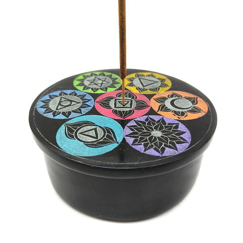 Black Soapstone Hand-painted 7 Chakras Stick Incense Box Decorative Burner 4""