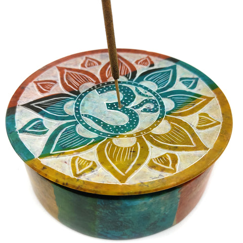 Om Soapstone Hand-painted Stick Incense Box Decorative Burner Ash Catcher 4""