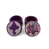 Set Soapstone Carved Round Box Trinket with Ganapati Ganesh Lotus Flower Purple