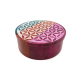 Colorful Flower of Life Soapstone Set Hand-painted Stick Incense Plate and Trinket Box