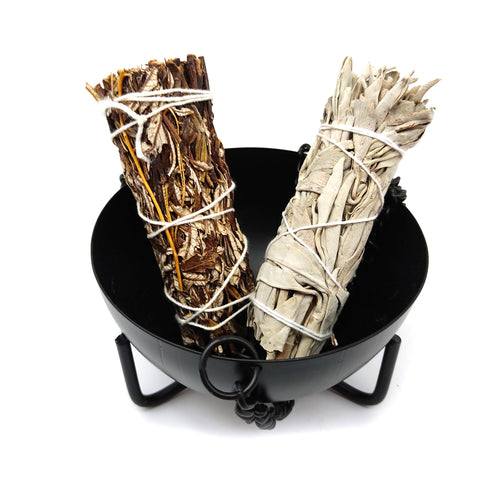 Hanging Black Cauldron Smudging Pot Burner Kit 1 Yerba Santa 1 White Sage Wands