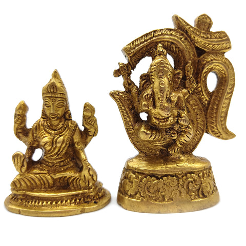 Devotional Brass India Gods Om Ganesh Ganapati Elephant God Mata Lakshmi Laxmi