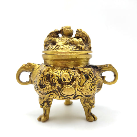 Tibetan Dragon Brass Burner with Lid Dragon Incense Sage Decorative Burner 4.5""