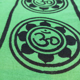 Lotus Om Green Large Meditation Yoga Prayer Shawl - Om Aum Altar Cloth Rayon