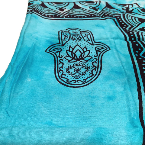 Hand of Fatima in Turquoise Large Meditation Yoga Prayer Shawl Hamsa Altar Cloth Rayon