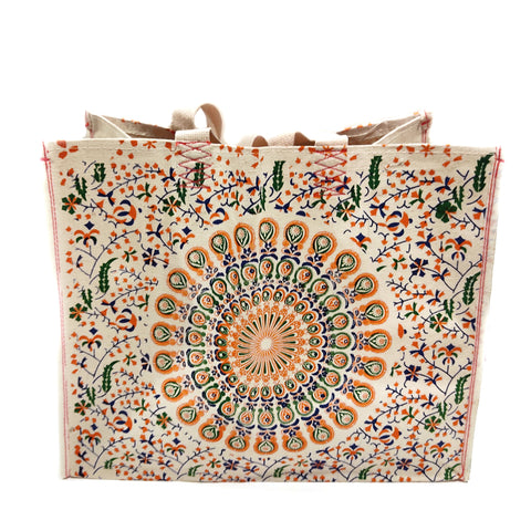 "Heavy Weight Cream Color Canvas Tose Bag With Colorful Peacock Design 16""X19"""