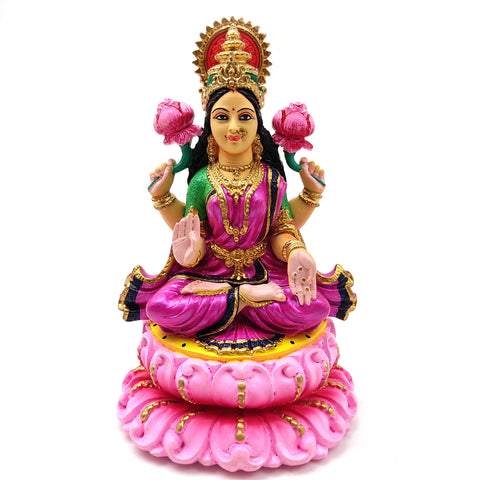 Gorgeous Ganges Clay Mata Lakshmi India Goddess in Lotus Handmade Statue 6.5""