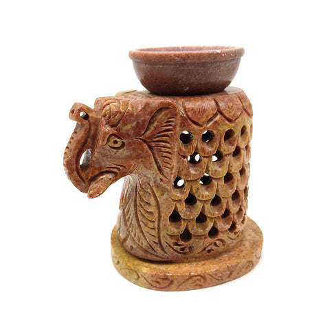 "Elephant Oil Burner Diffuser Candle Holder 3-Piece Hand-Carved Soapstone 5"" Tall"