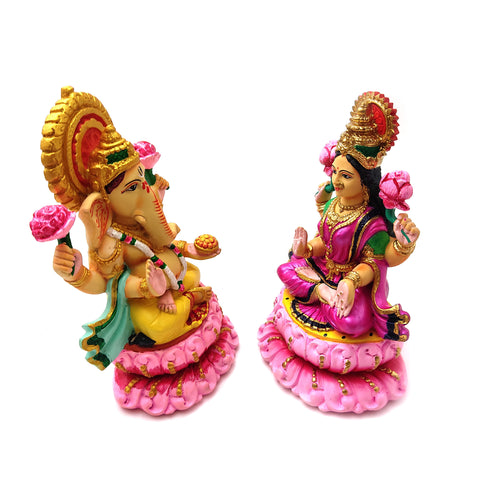 "Ganges Clay India Handmade Sri Ganesh Ganapati Goddess Lakshmi Laxmi 6.5"" Set"