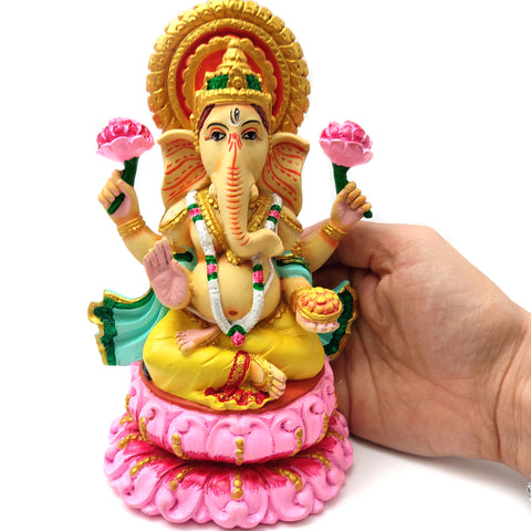 "Ganesh Ganapati India Elephant God Remover of Obstacles Resin Idol 6.5"" Handmade"