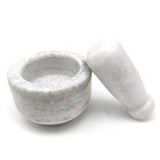 Small White Marble Mortar-Pestle All Natural Marble Hand-carved Handmade 2.75""
