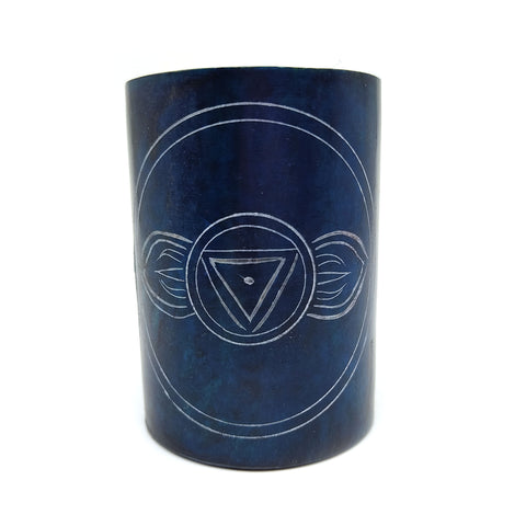 Ajna Third Eye Chakra Soapstone Blue Oil Warmer Burner Diffuser India Handmade 3""