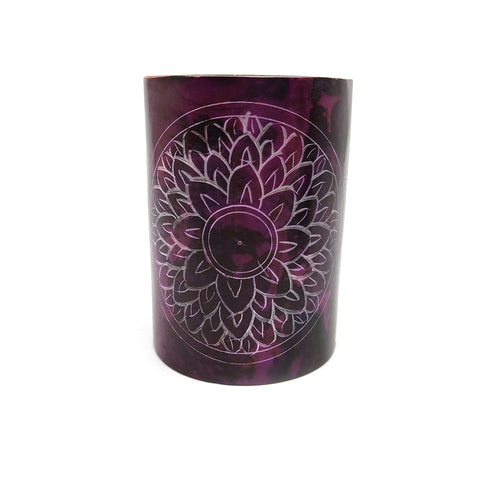 Crown Lotus Chakra Soapstone Purple Oil Warmer Burner Diffuser India Handmade 3""