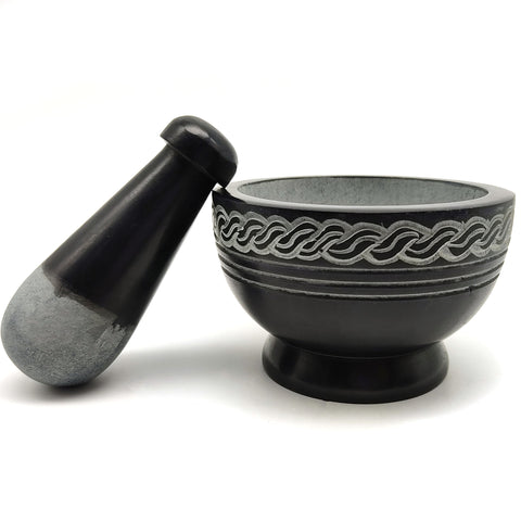 Celtic Knot Carved Black Soapstone Mortar & Pestle All Natural Hand-carved India 4""