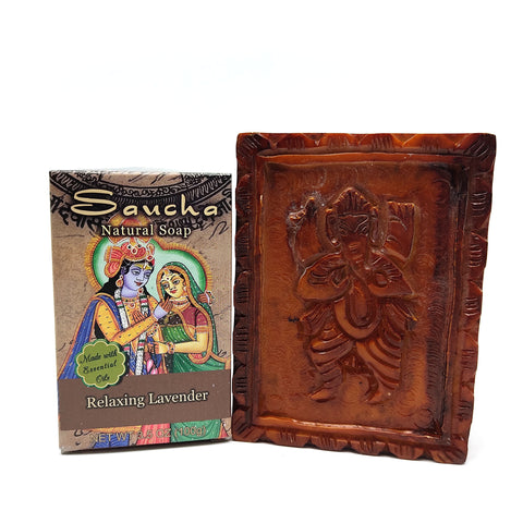Soapstone Ganesh Soap Dish With All Natural Saucha Levender Soap Bar Scrub - Set