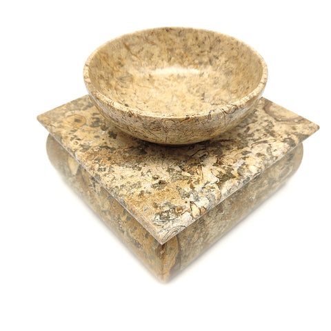 Home Decor Box Bowl Set Polished Coral Stone Trinket Keepsake Handcrafted Burner