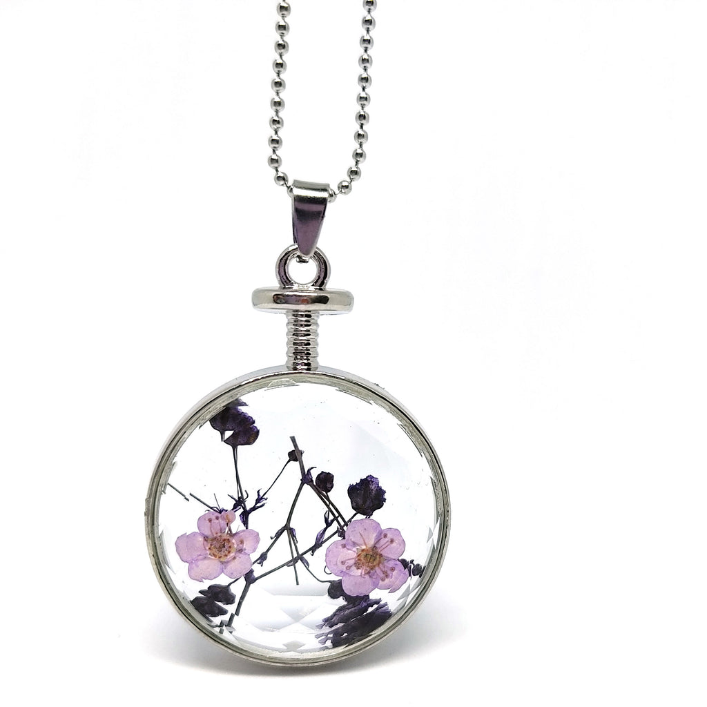 "Pendant Necklace Real Dry Lavender Flower Round Locket Necklace Jewelry 22"" Chain"