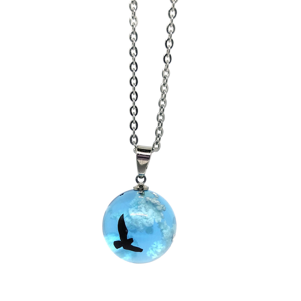 Flying Eagle Blue Sky White Clouds Ball Pendant Necklace Inspiration Jewelry Necklace