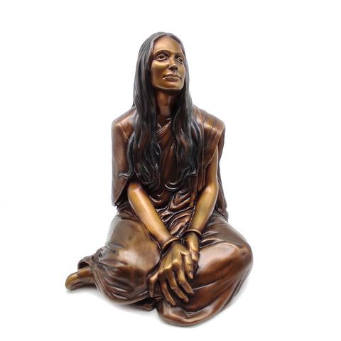 Anandamayi Ma Bronze Handmade Sculpture Anandama India Guru Saint Statue 11.5""