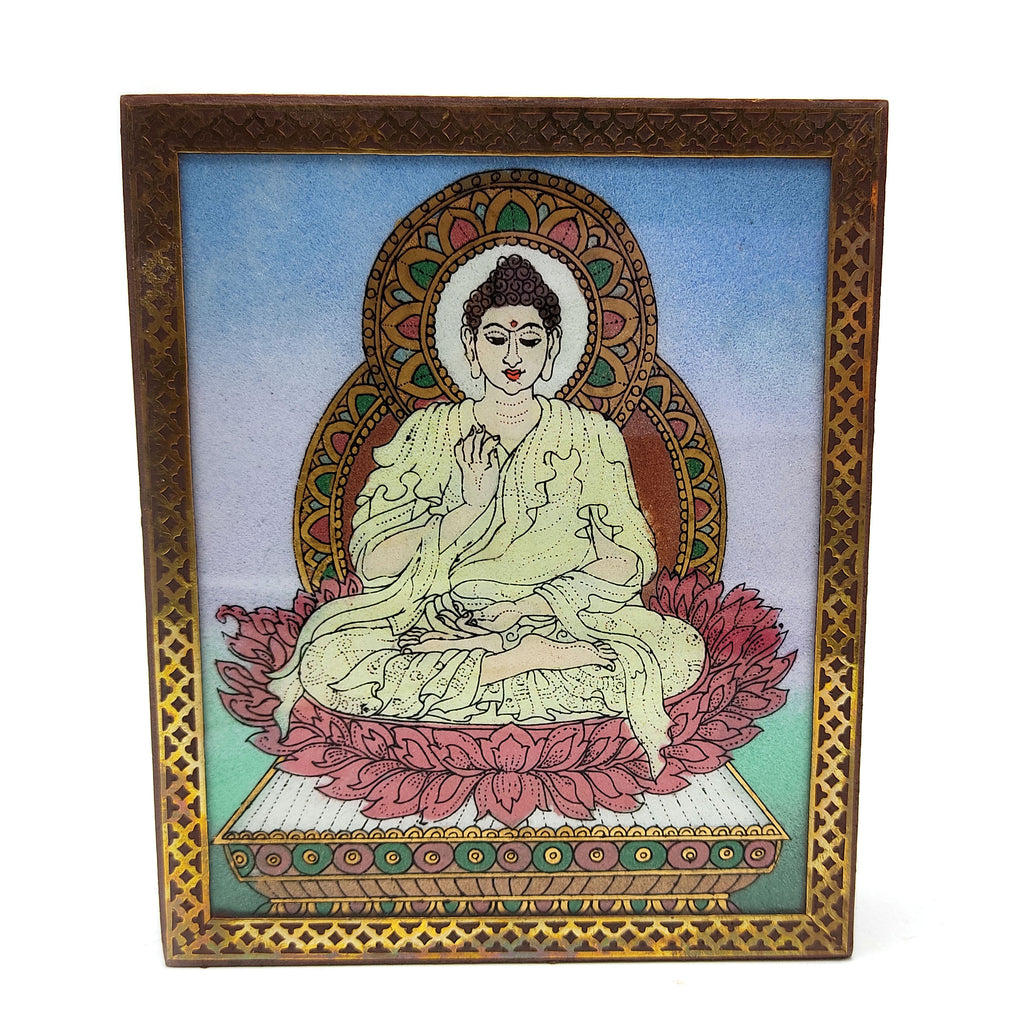 Wood Carving Jewelry Box Real Crushed Gemstone Buddha Painting Velvet Lining 6.25""