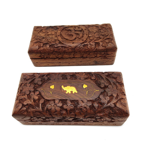 2-piece Hand-carved Decorative Wooden Jewelry Trinket Box Keepsake Wood Set