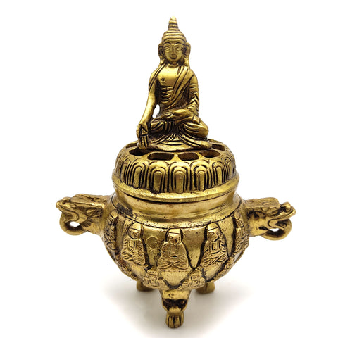 Tibetan Buddha Censer Burner with Lid Charcoal Incense Sage Decorative Burner 6""
