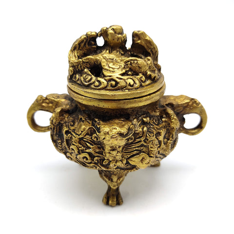 Brass Dragon Burner Ethnic Censer with Lid Charcoal Incense Sage Decorative Burner 4.5""