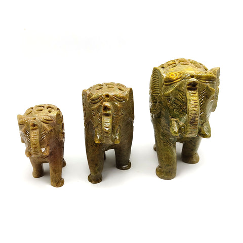 3 Set Carved Soapstone Elephants W/Baby Inside Home Blessing Protection Statue Set