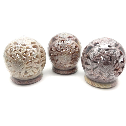 Candle Incense Cones Burner Holder Soapstone Carved T-Lite Ball Flowers 3""