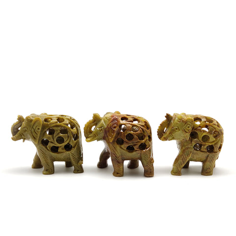 3 Carved Soapstone Elephants W/Baby Inside Home Blessing Protection Statue Set