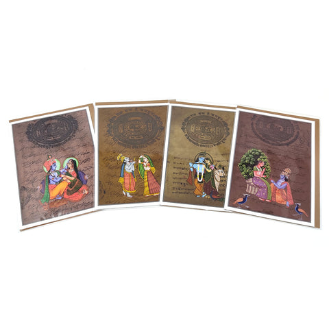 "Set 4 Radha Krishna Greeting Card Rajasthani Miniature Painting Card India Gods 5""x7"""