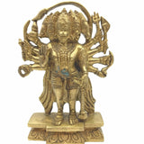 "Antique Brass 5 Faced Hanuman Murti Statue Hindu Monkey God 7.7"" India"
