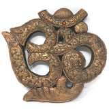 Om Symbol Wood Covered Brass Layer India Very Decorative Wall Hanging 8""