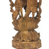 "Handcrafted Wooden Carved Lakshmi Laxmi Carving India Goddess Statue 14"" Tall"