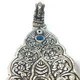 India Incense Burner - Ornate Metal Ganesh Large Leaf Blue Decorative Stone