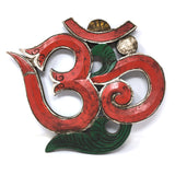 "Om Sacred Hand-carved Nepal Colorful Decorative Wood Wall Hanging 13"" Tall"