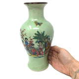 Oriental Green Crackle Ceramic Vase Hand-painted Women in Nature Vase 9.25""