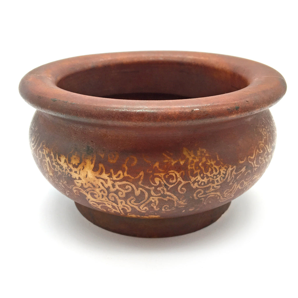Soapstone Smudging Bowl Pot Natural Henna Coloring and Eastern Style Decorative
