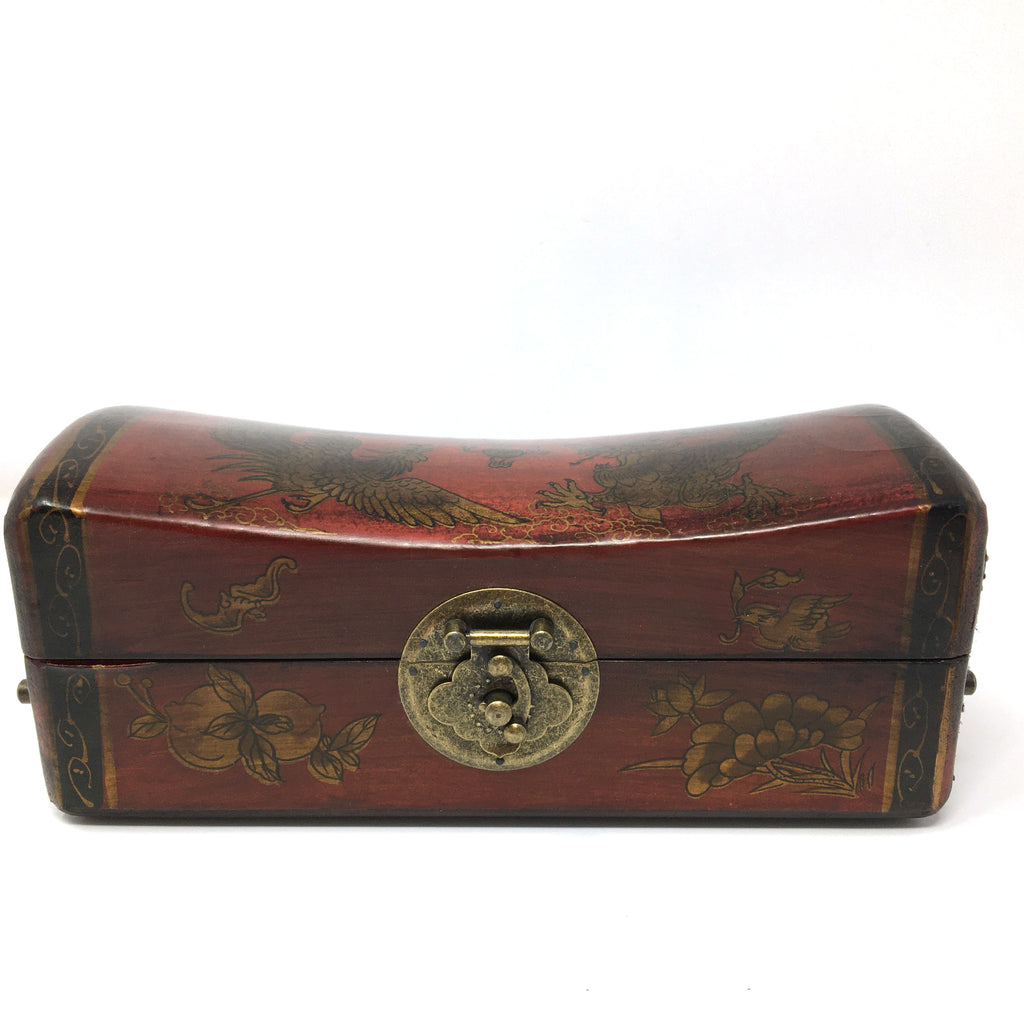 Chinese Wood Trinket Wooden Box Storage Box With Metal Lock and Metal Handles